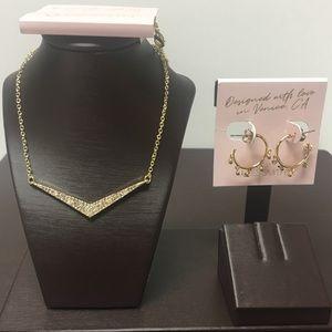 Jewelry - Jules Smith V Necklace & Hoop Earrings
